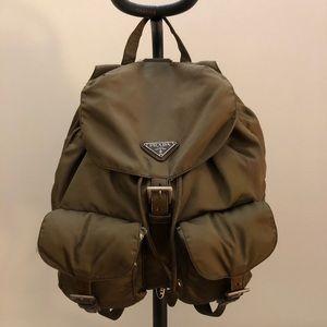 Vintage green prada tessuto backpack